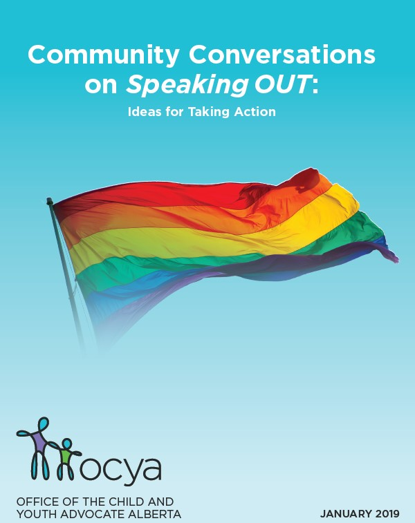Rainbow flag with text: Community Conversations on Speaking OUT: Ideas for taking action